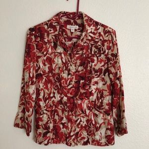 COLDWATER CREEK Long Sleeve Snap Front Blouse